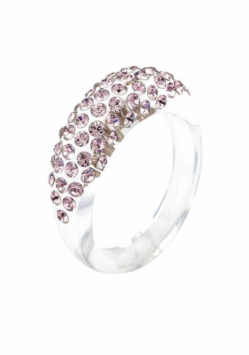 Cristaluna Usa Art In Acrylic Jewelry MONA TRANSPARENT ACRYLIC 10030325 Acrylic Rings with Swarovski Elements Swarovski © Elements Vintage Rose