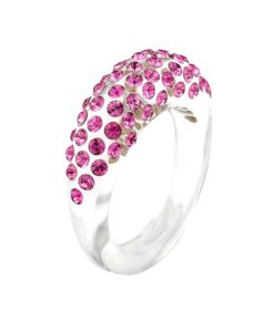 Cristaluna Usa Art In Acrylic Jewelry MONA TRANSPARENT ACRYLIC 10030328 Acrylic Rings with Swarovski Elements Swarovski © Elements Rose