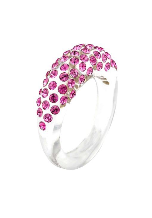 Cristaluna Usa Art In Acrylic Jewelry MONA TRANSPARENT ACRYLIC 10030328 Acrylic Rings with Swarovski Elements Swarovski © Elements Rose