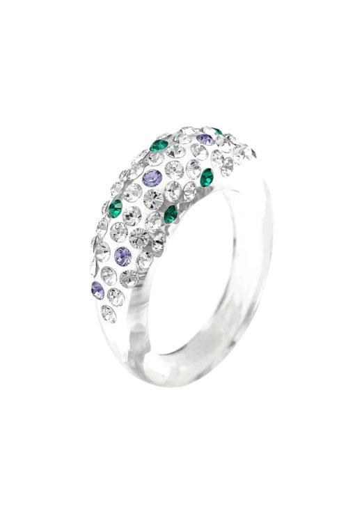 Cristaluna Usa Art In Acrylic Jewelry MONA TRANSPARENT ACRYLIC 100303G3 Acrylic Rings with Swarovski Elements Swarovski © Elements Crystal, Emerald, Tanzanite