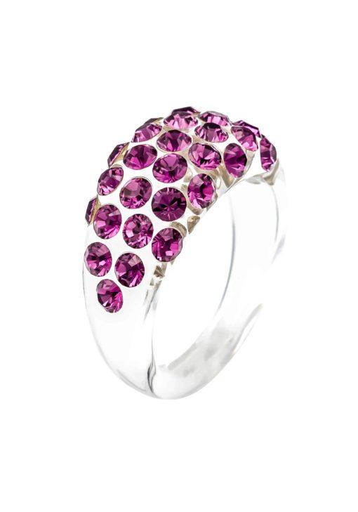 Cristaluna Usa Art In Acrylic Jewelry VIVI TRANSPARENT ACRYLIC 10030530 Acrylic Rings with Swarovski Elements Swarovski © Elements Amethyst