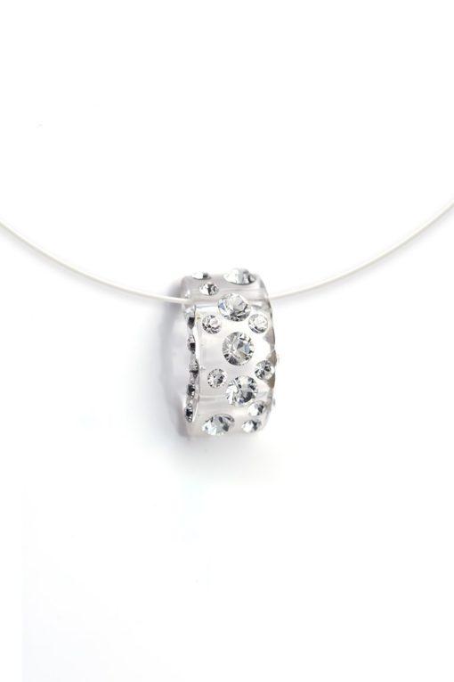 Cristaluna Usa Art In Acrylic Jewelry DIVA TRANSPARENT ACRYLIC 20035500 Acrylic Necklaces with Swarovski Elements