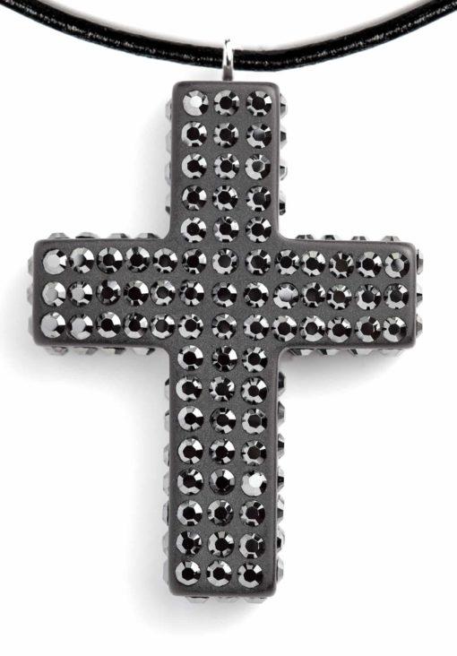 Cristaluna Usa Art In Acrylic Jewelry CRUZ LATINA UOMO MATT BLACK ACRYLIC 20181186M Acrylic Necklaces with Swarovski Elements Swarovski © Elements Jet Hematite
