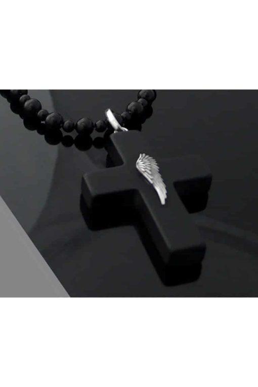 Cristaluna Usa Art In Acrylic Jewelry CRUZ LATINA WING BLACK ACRYLIC 201813P6M Acrylic Necklaces with Swarovski Elements Swarovski © Elements Fireopal