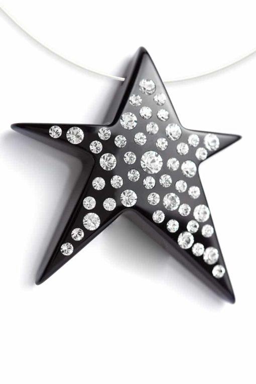 Cristaluna Usa Art In Acrylic Jewelry COMETE BLACK ACRYLIC 20199700 Acrylic Necklaces with Swarovski Elements Swarovski © Elements Crystal