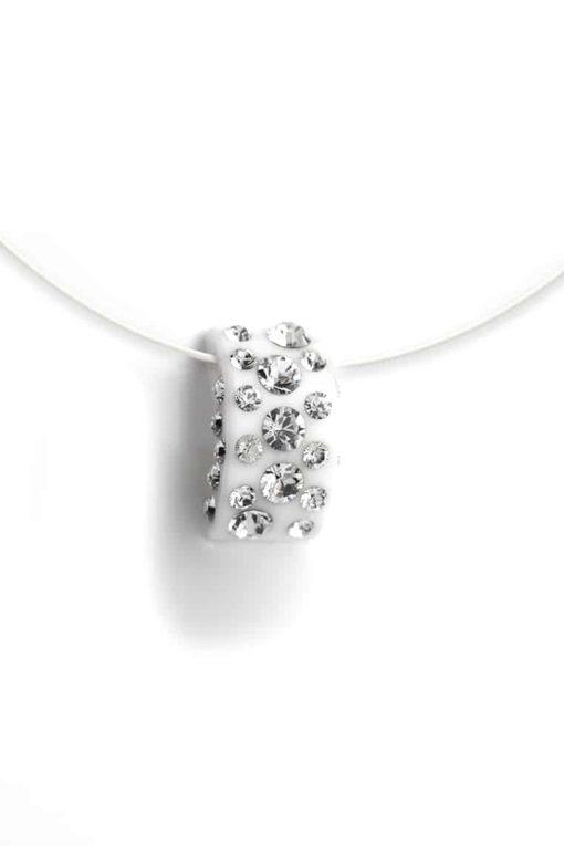Cristaluna Usa Art In Acrylic Jewelry DIVA WHITE ACRYLIC 20335500 Acrylic Necklaces with Swarovski Elements Swarovski © Elements Crystal