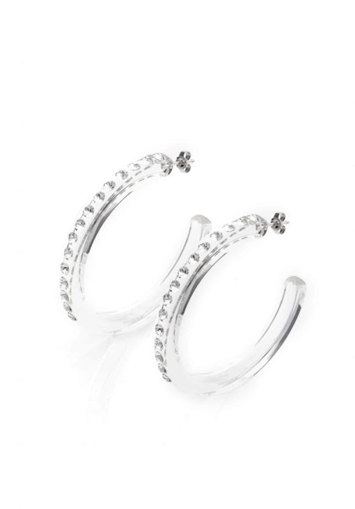Cristaluna Usa Art In Acrylic Jewelry OLE XX-ELLE TRANSPARENT ACRYLIC 30010800 Acrylic Earrings with Swarovski Elements Swarovski © Elements Crystal