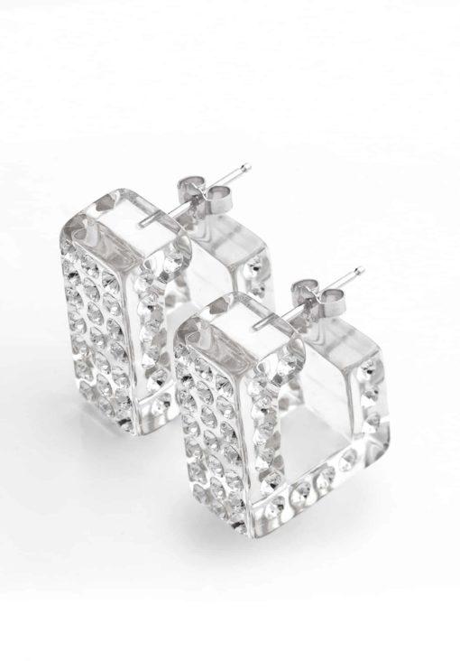Cristaluna Usa Art In Acrylic Jewelry LUX TRANSPARENT ACRYLIC 30040800 Acrylic Earrings with Swarovski Elements Swarovski © Elements Crystal