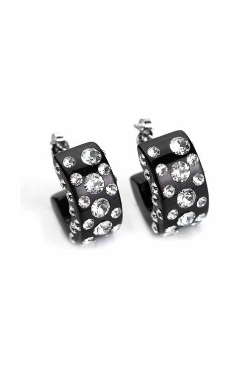 Cristaluna Usa Art In Acrylic Jewelry DIVA BLACK ACRYLIC 30135500 Acrylic Earrings with Swarovski Elements Swarovski © Elements Crystal