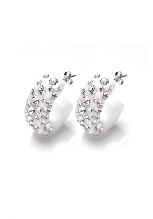 Cristaluna Usa Art In Acrylic Jewelry DIVA WHITE ACRYLIC 30335600 Acrylic Earrings with Swarovski Elements
