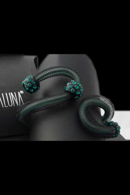 Cristaluna Usa Art In Acrylic Jewelry AVVOLTO BLACK ACRYLIC 40124045G Acrylic Bracelets with Swarovski Elements Swarovski © Elements SOLD UOT