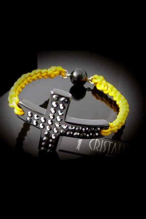 Cristaluna Usa Art In Acrylic Jewelry STYLE BLACK ACRYLIC 40181186yel Acrylic Bracelets with Swarovski Elements Swarovski © Elements Jet Hematite
